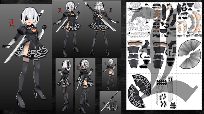 Nier Automata 2B Low Poly Paper craft