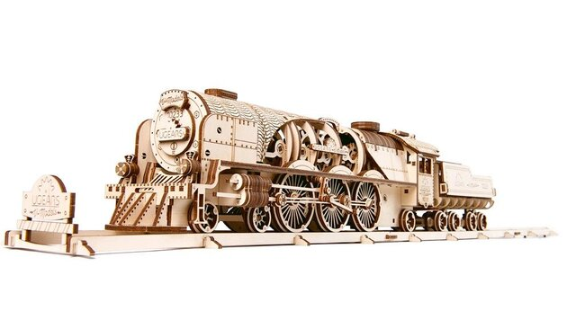 V-Express Steam Train with Tender mechanical Paper craft